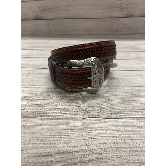 Leather Tan Basket Belt 32