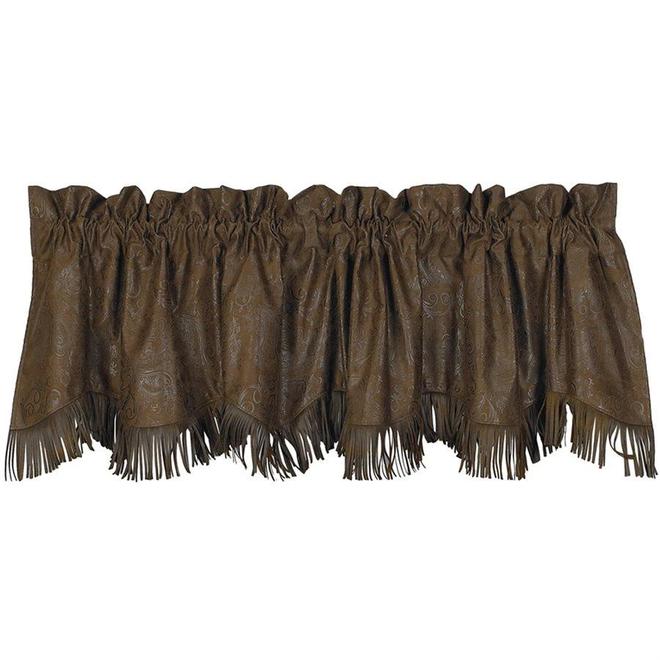 Tooled Leather Valance with Fringe