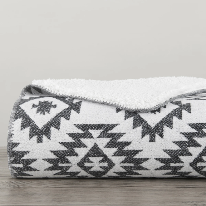 Southwest Design Throw With Shearling Black