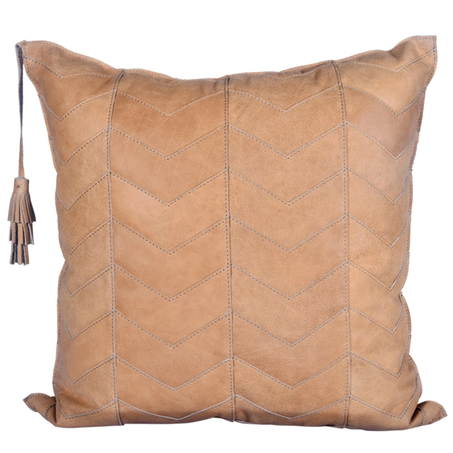 Chevron Leather Pillow with Tassel 20x20