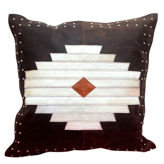 Aztec Design Leather & Hide Pillow 20x20