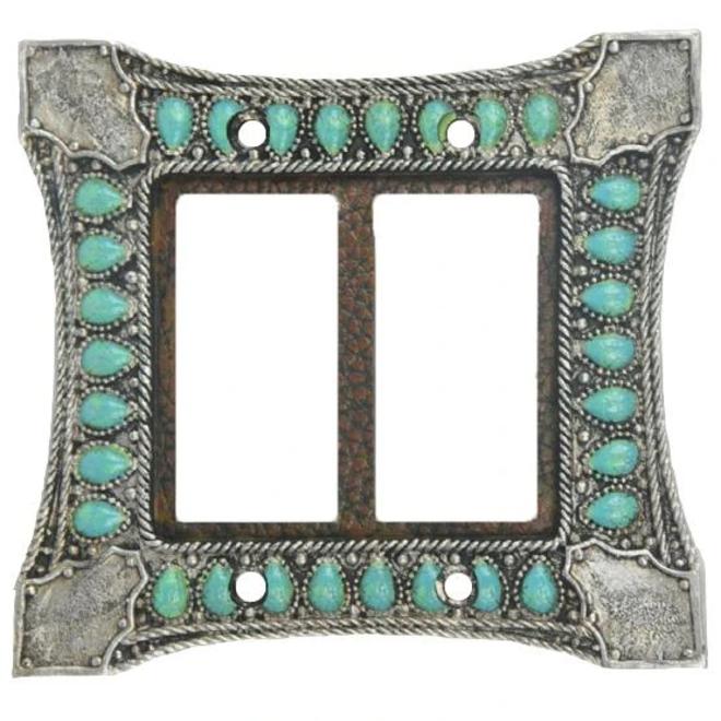 Turquoise Switchplate Double Rocker