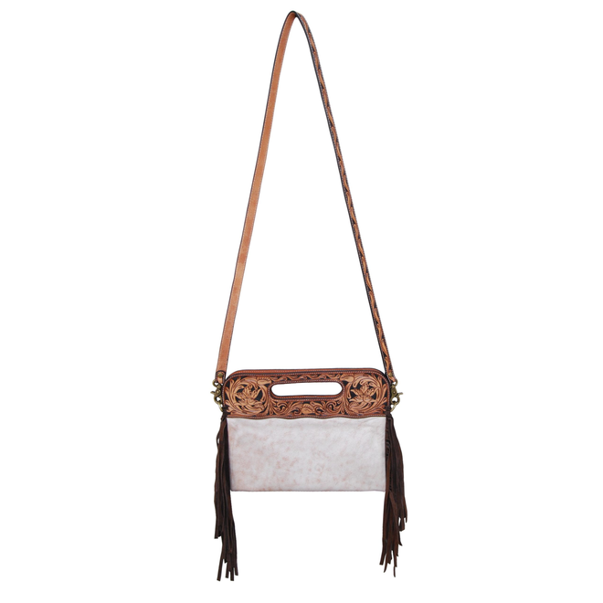 Clutch/Crossbody Bag  -Slick Hide Brown Fringe