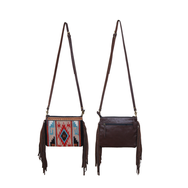 Crossbody Bag-Multi Color Tan Wool