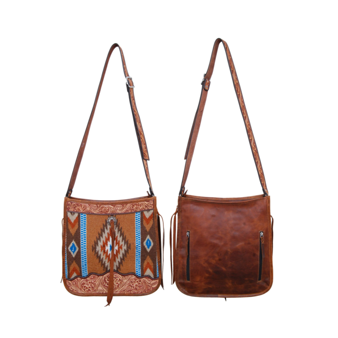 Crossbody Hand Bag Toupe Wool and Tooled Leather