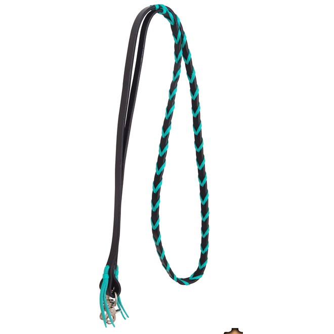 "Barrel Rein 5/8"" Black with Turquoise Lace"