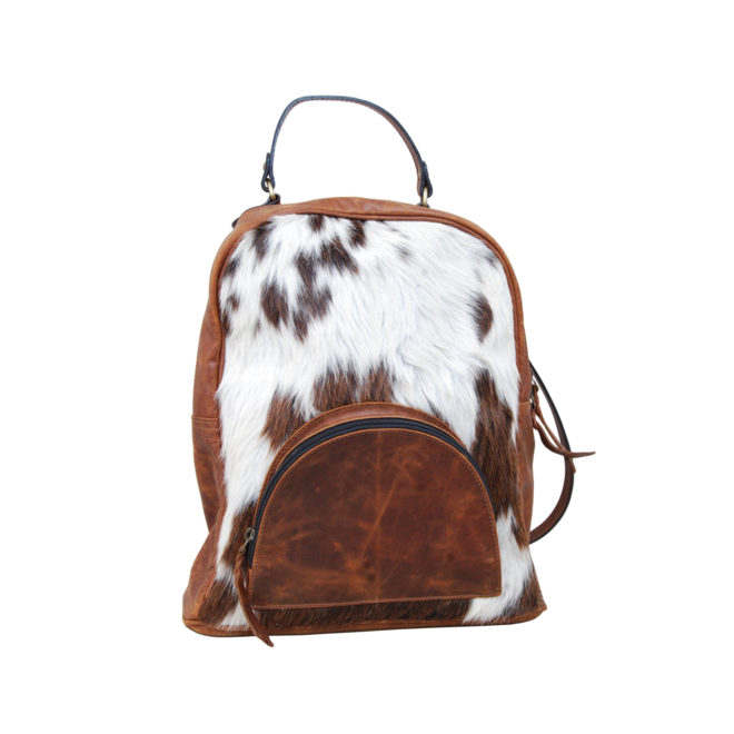 Leather Backpack with Cowhide Pocket