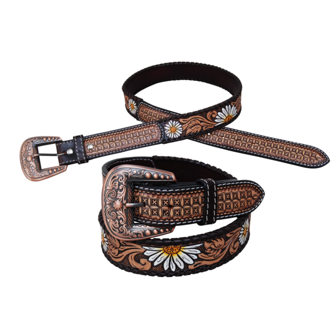Painted Daisy Flower Belt with Whipstitch