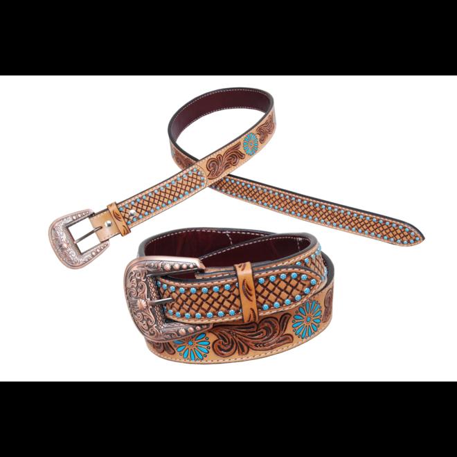"""Turquoise Zuni Tooled Belt 1.5"""""""
