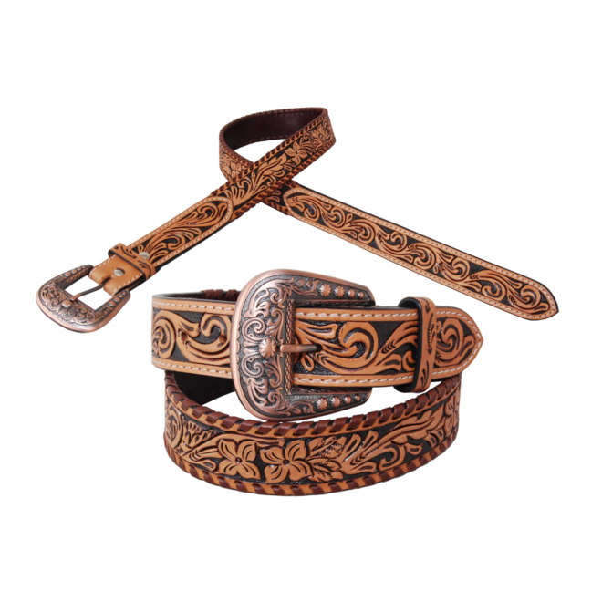 """Flower Tooled and Brown Whipstitch Belt 1.5"""""""