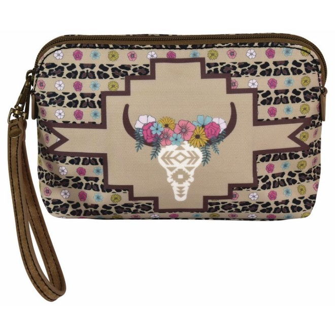 Cassidy Essentials Pouch Floral Cow Skull