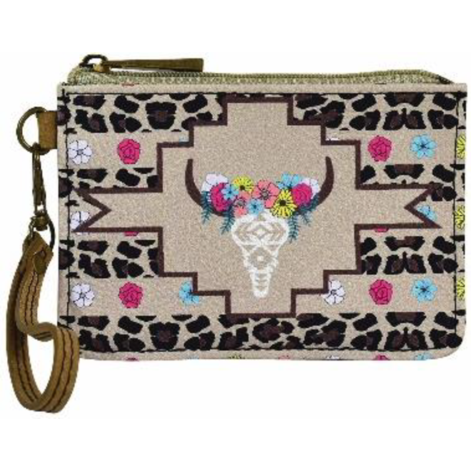 Mini Card Wallet Floral Cow Skull