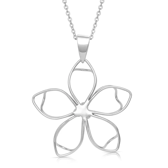 Tipped Up Flower Pendant Necklace