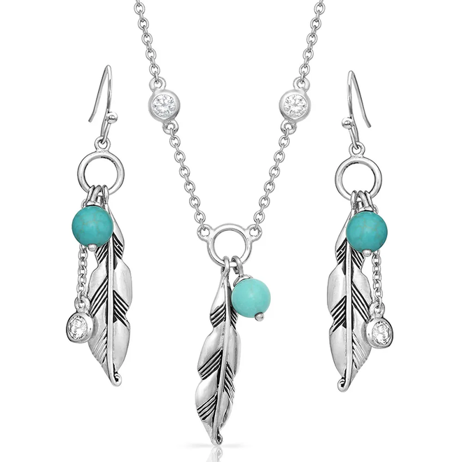 Charming Feather & Turquoise Jewelry Set