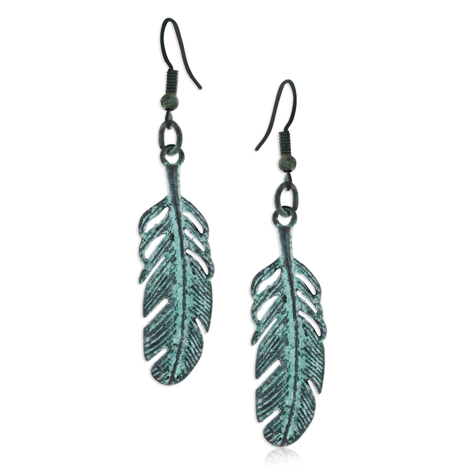 Turquoise Feather-Flying Attitude Earrings