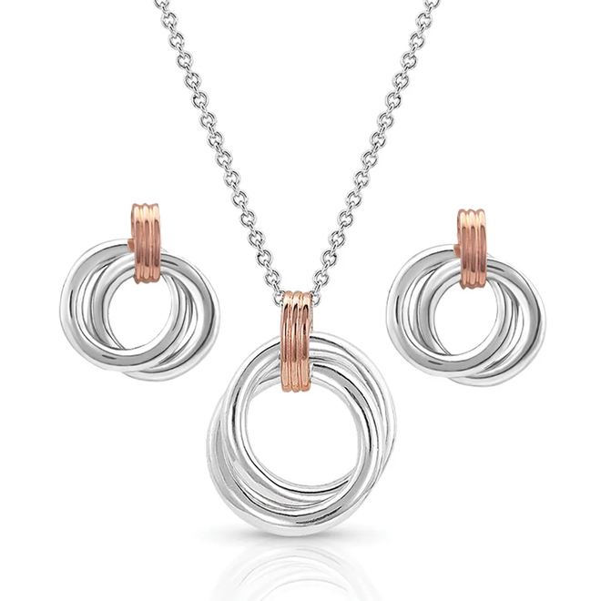 Two Tone Double Ring Jewelry Set