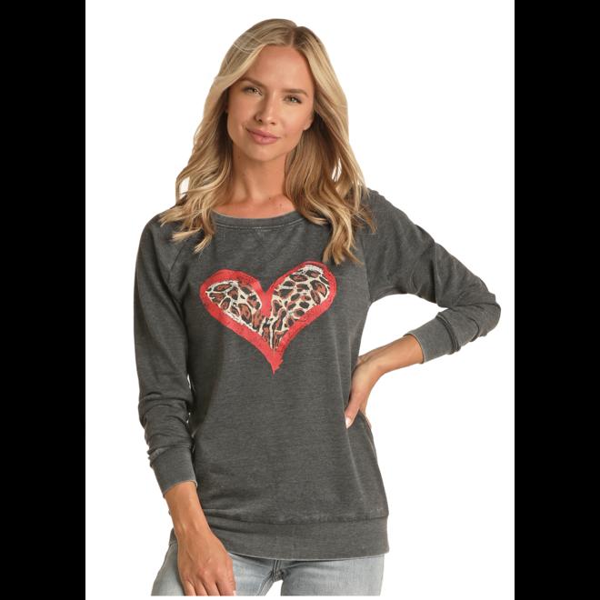 Ladies Cheetah Heart Sweatshirt