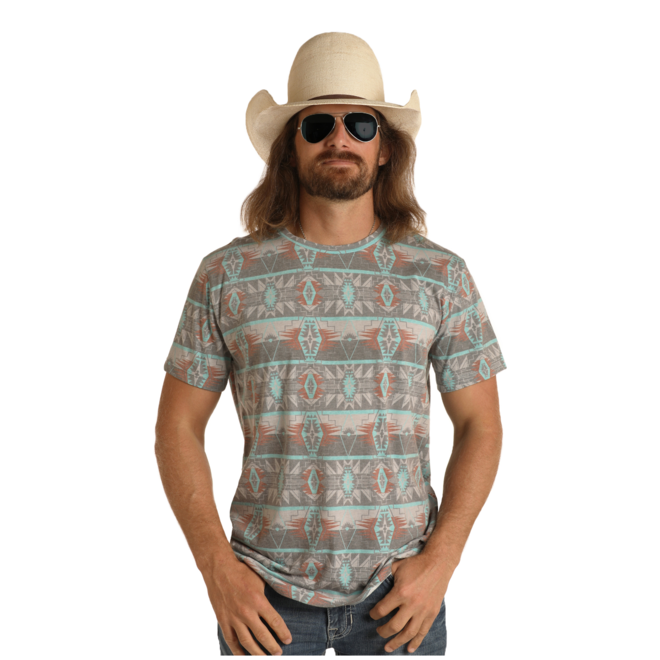 Mens Aztec Print T-Shirt