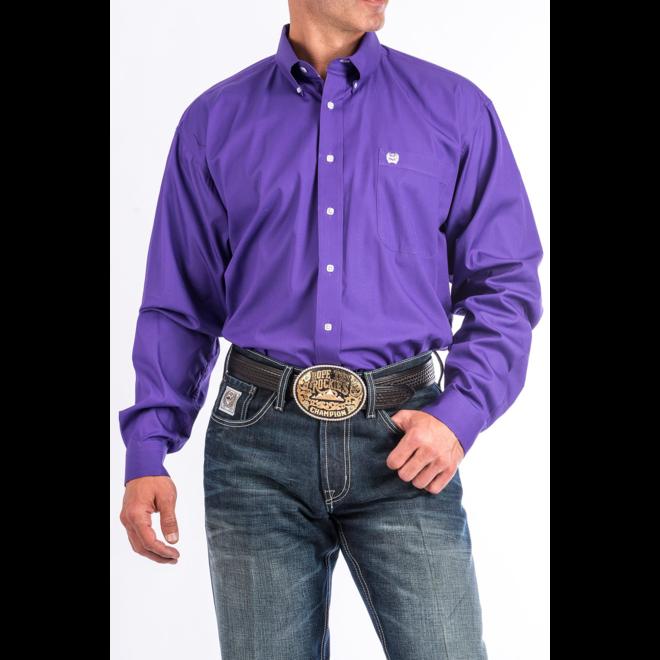 Mens Solid Weave Purple Shirt