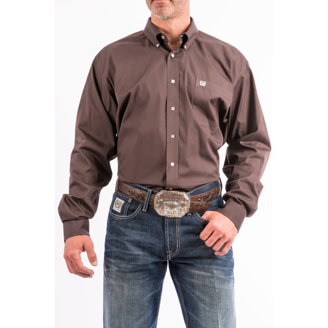 Mens Solid Brown Performance Shirt