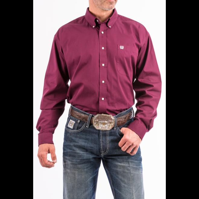 Mens Solid Burgundy Classic Fit Shirt