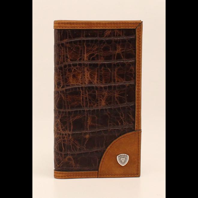 Brown Croc Rodeo Wallet