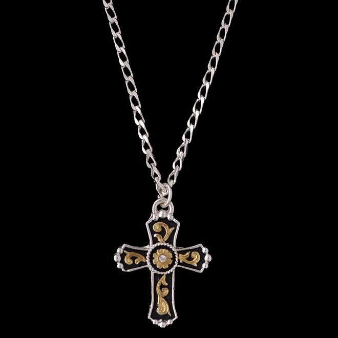 Men's Silver Gold Clear Stone Cross