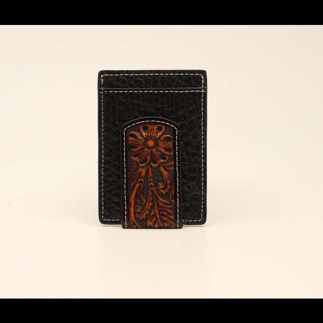 Black Card Case Money Clip Floral Tooled
