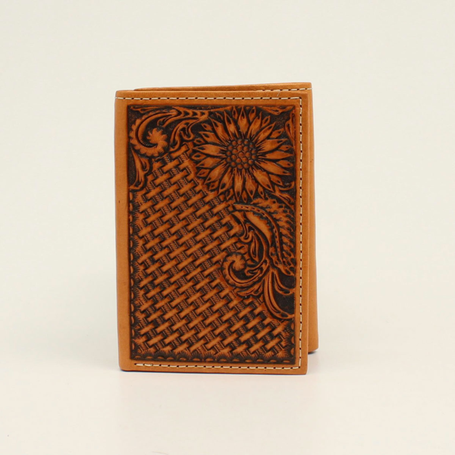 Basket Stamp Sunflower Tooled Trifold Wallet