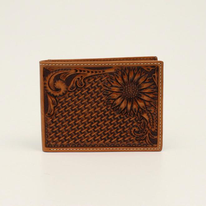 Basket Stamp Sunflower Tooled Bifold Wallet