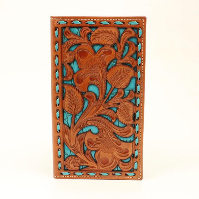 Turquoise Underlay Buckstitch Rodeo Wallet
