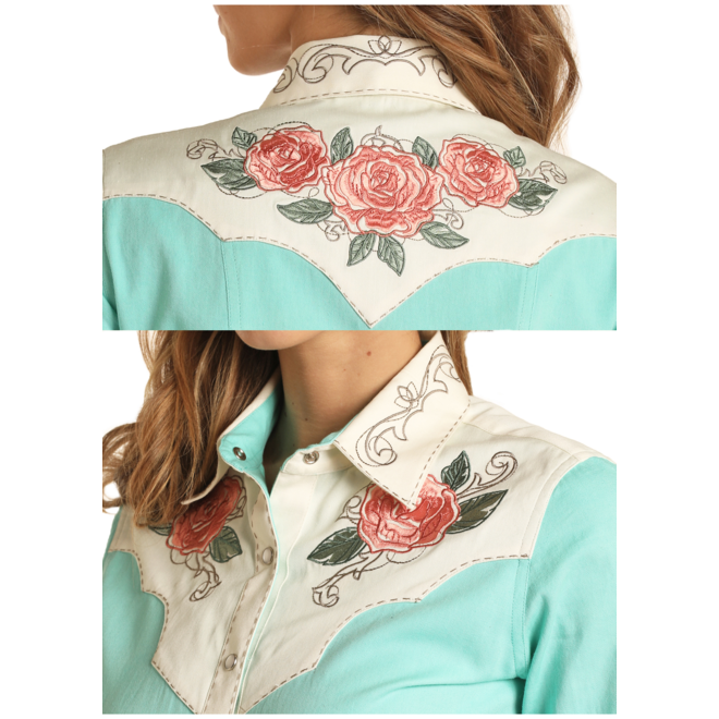 Turquoise Retro Snap Shirt Embroidered