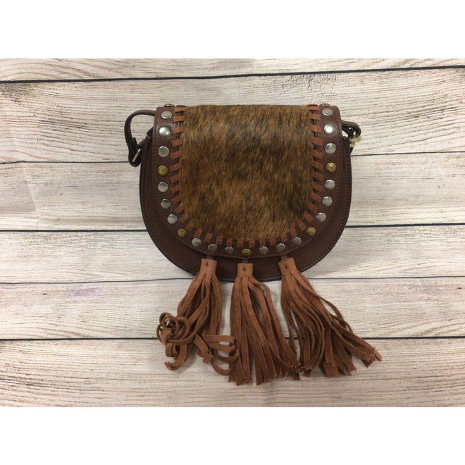 Cross Body Cognac With Hair On