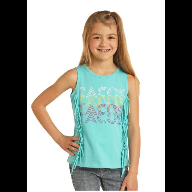 Girls Bright Turquoise Fringe Tank