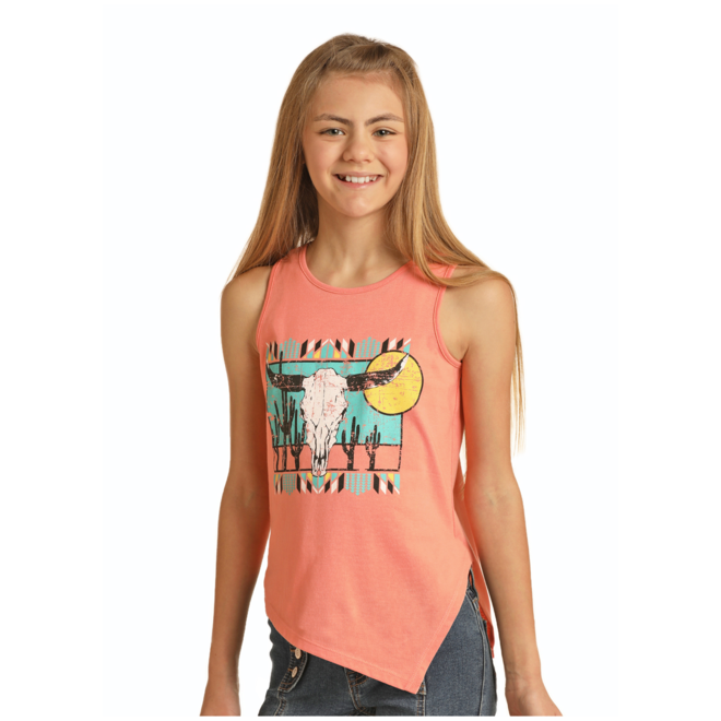 Girls Coral Tank with Skull Graphic
