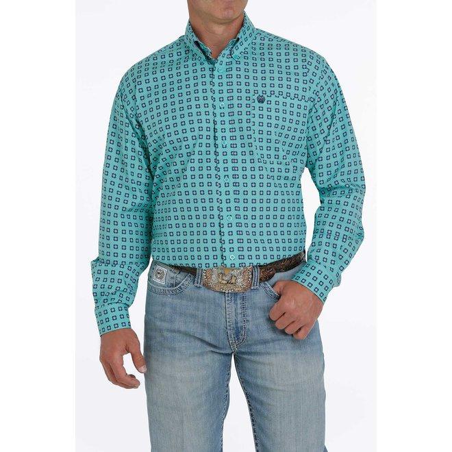 Turquoise Print Button Shirt