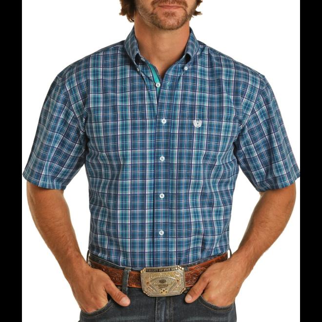 Turquoise Plaid Regular Fit Button Shirt