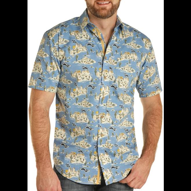 Blue Desert Print Camp Shirt