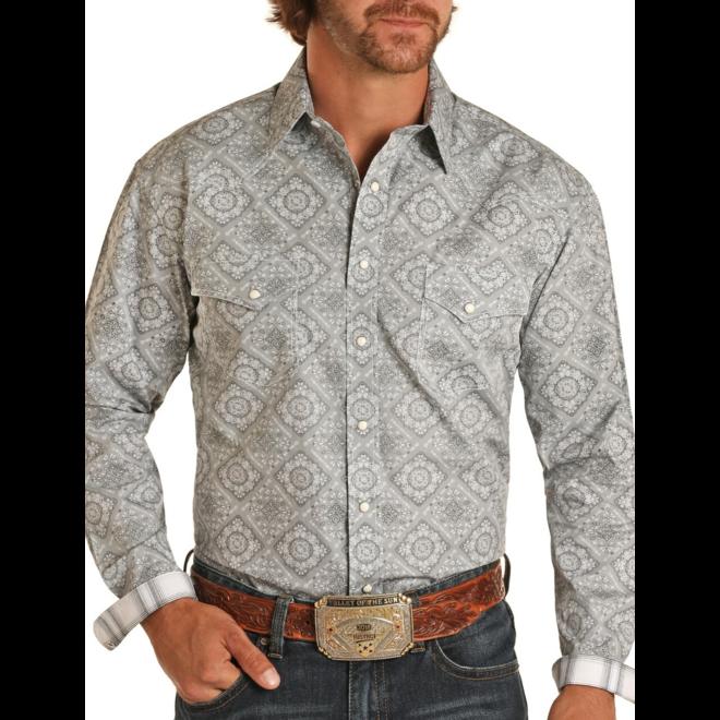 Grey Bandana Print Snap Shirt