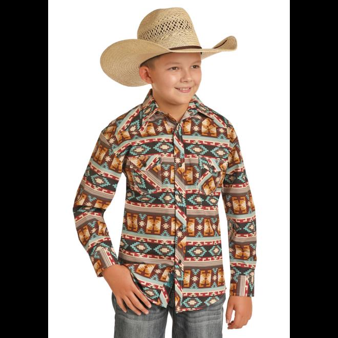 Boys Brown Aztec Snap Shirt