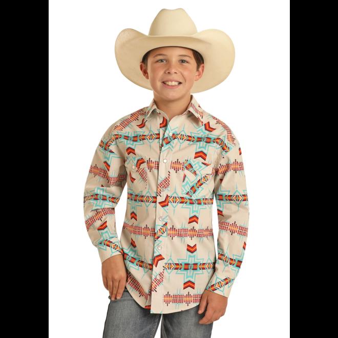 Boys White Aztec Snap Shirt