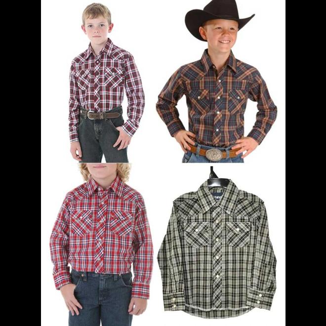 Wrangler Boys Western Plaid Shirt 201WAAL