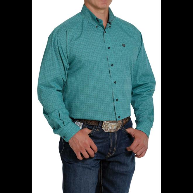 Men's Turquoise Print Button Shirt