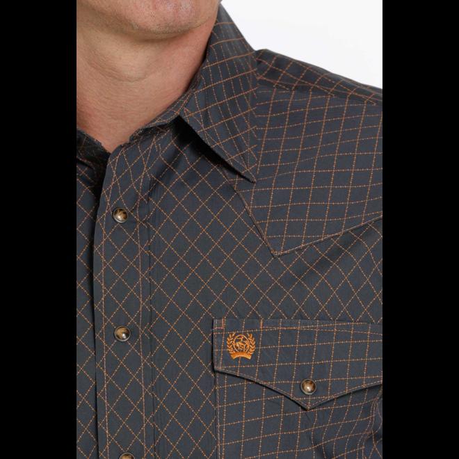 Men's Charcoal Gold Print Snap Shirt