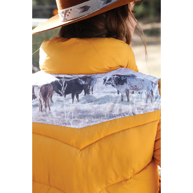 Women's Gold Puffer Jacket
