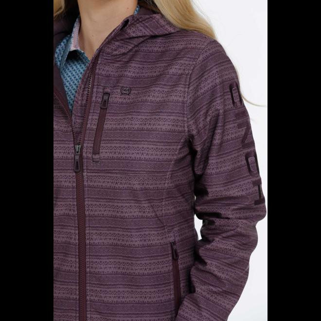 Purple Printed Bonded Hoodie