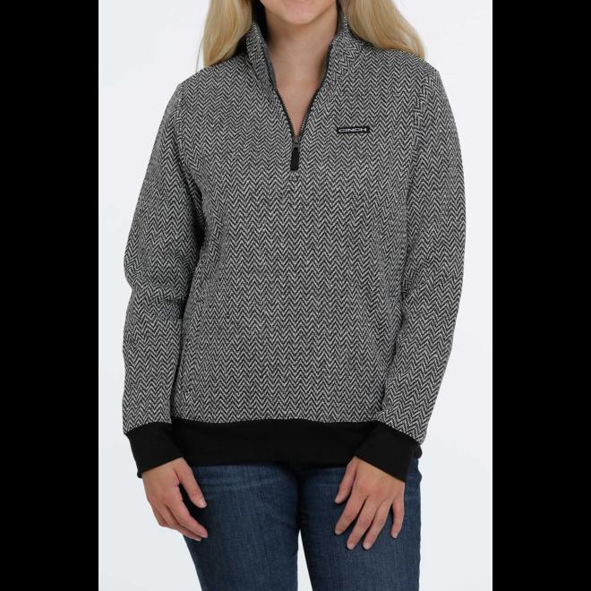 Black Herringbone 1/4 Zip Sweater
