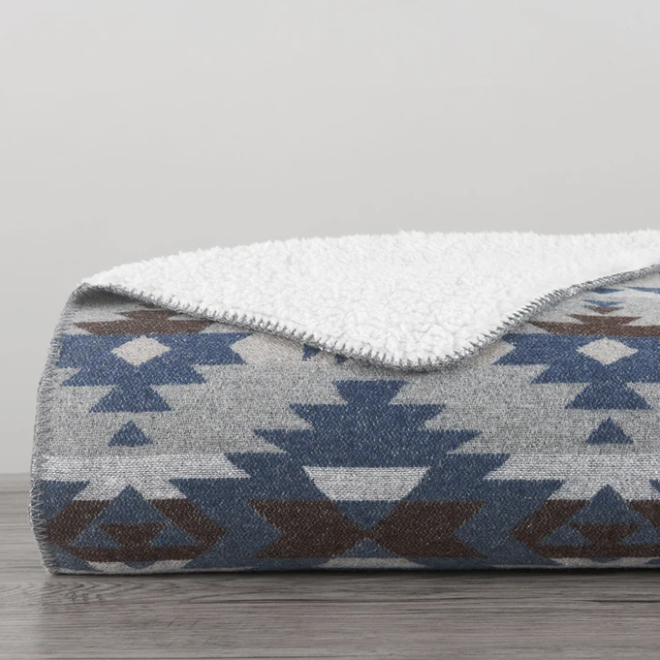 Southwest Design Throw with Shearling Blue
