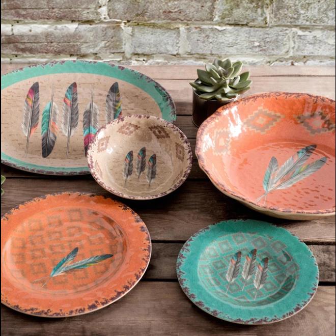 Feather Melamine Dishes | 14 Piece Set
