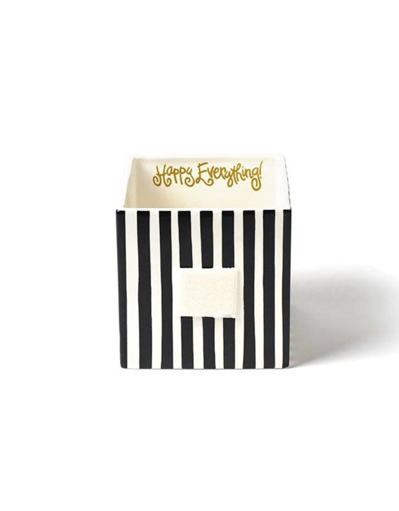 Happy Everything Black Stripe Mini Nesting Cube Medium